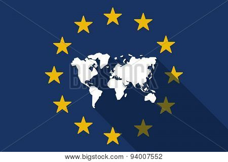 European Union  Long Shadow Flag With A World Map