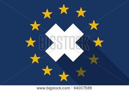 European Union Long Shadow Flag With An Irritating Substance Sign