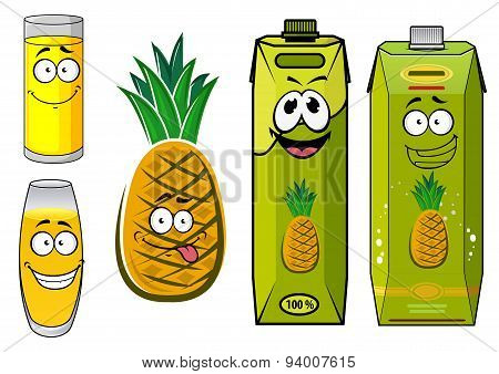 Cartoon pineapple fruit, juice packs and glasses
