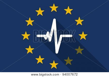 European Union  Long Shadow Flag With A Heart Beat Sign