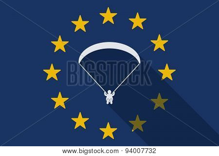 European Union Long Shadow Flag With A Paraglider