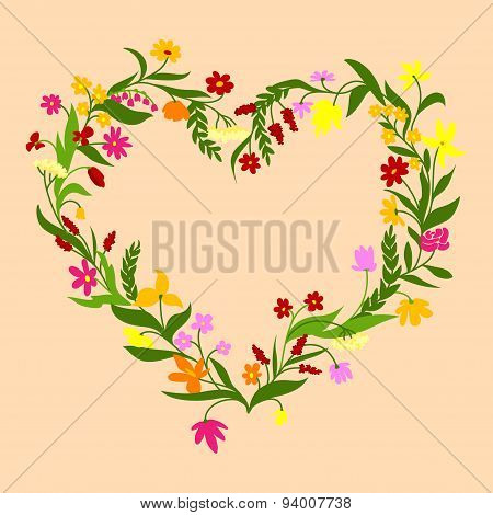 Floral frame with field flowers and herbs
