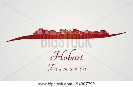 Hobart Skyline In Red