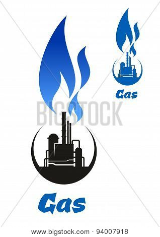 Gas processing black silhouette with blue flame