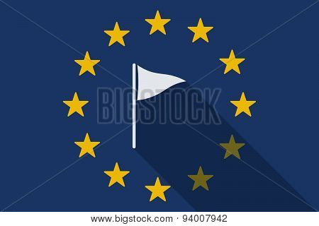 European Union Long Shadow Flag With A Golf Flag