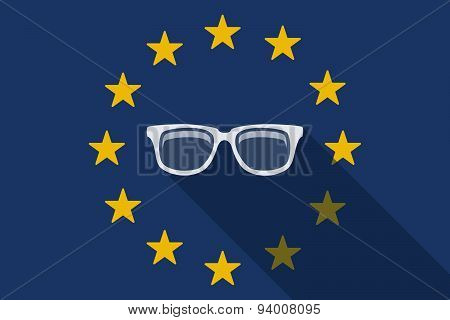 European Union  Long Shadow Flag With A Glasses