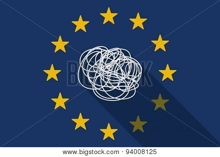 European Union Long Shadow Flag With A Doodle
