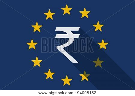 European Union  Long Shadow Flag With A Rupee Sign