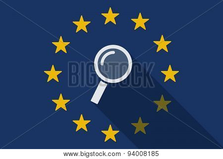 European Union  Long Shadow Flag With A Magnifier