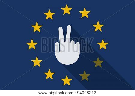 European Union Long Shadow Flag With A Victory Hand