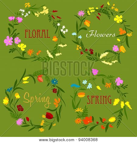 Floral border frames with wildflowers and herbs