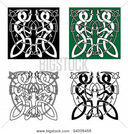Celtic twisted dragons in tribal style