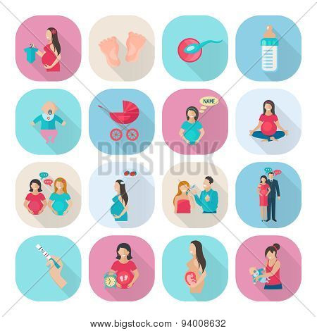 Pregnancy Icons Flat
