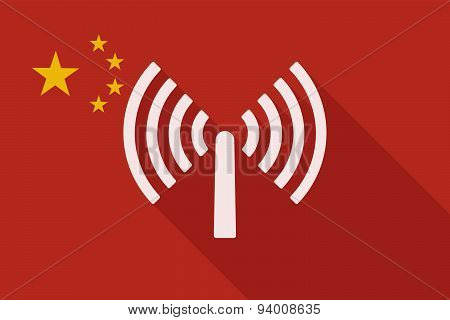 China Long Shadow Flag With An Antenna