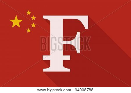 China Long Shadow Flag With A Swiss Frank Sign