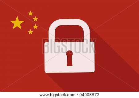 China Long Shadow Flag With A Lock Pad