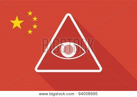 China Long Shadow Flag With An All Seeing Eye