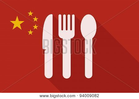 China Long Shadow Flag With Cutlery