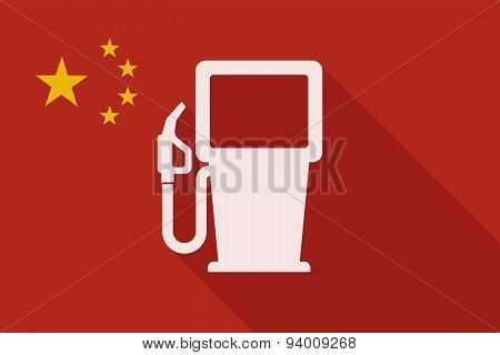 China Long Shadow Flag With A Gas Station