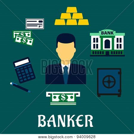 Banker profession concept with financial icons