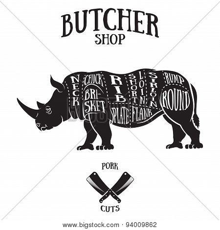 Butcher Cuts Scheme Of Rhinoceros
