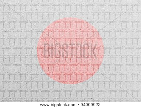 Paper texture with Japanese Torii gates and flag