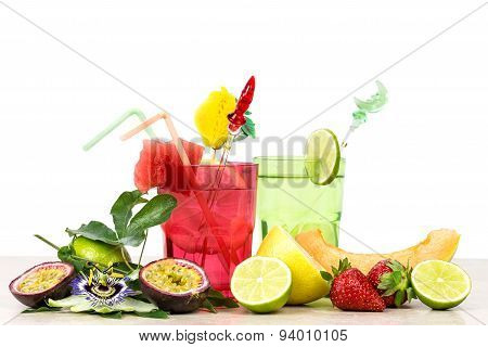 Exotic Summer Fruits Cocktail Over White