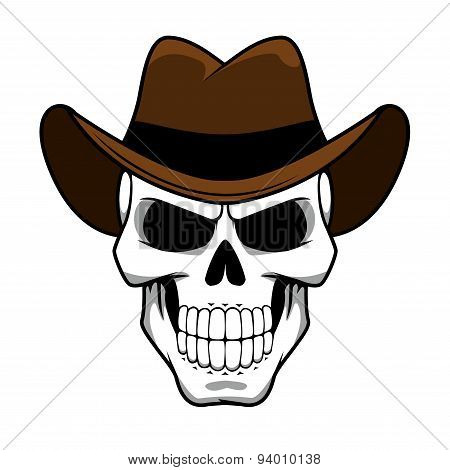 Cowboy skull character with brown felt hat