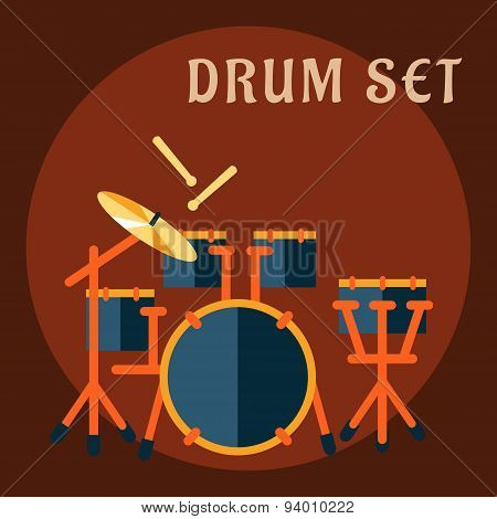 Drum set with sticks in flat style