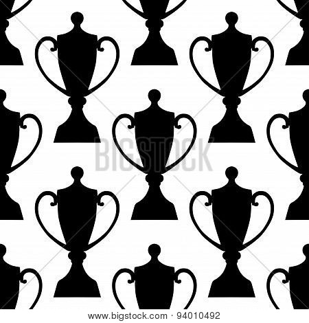 Sports trophy cups seamless pattern