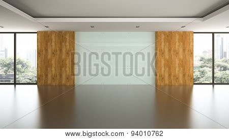 Empty room with glass panel wall 3D rendering