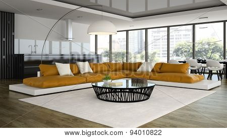 Interior modern design loft with orange sofa 3D rendering