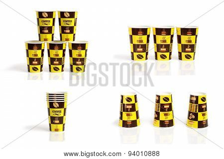 Collection Of Cold Coffee Cup Isolate On White Background