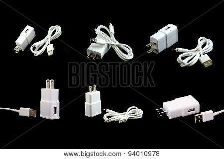 Collection Of White Electric Usb Cable Isolated On Black