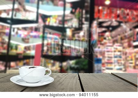 Blur Background And Terrace Wood In Front Of Gift Shop As Backgr