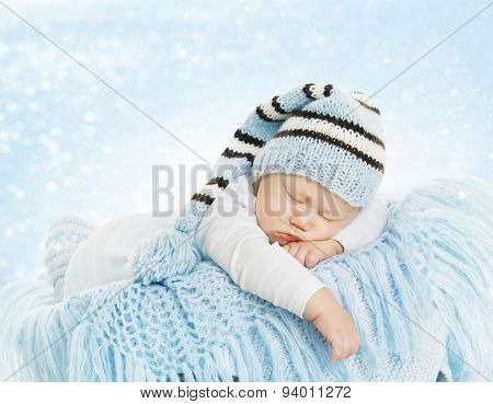 Baby New Born Hat Costume, Newborn Kid Sleeping On Blue Blanket, Infant Dream