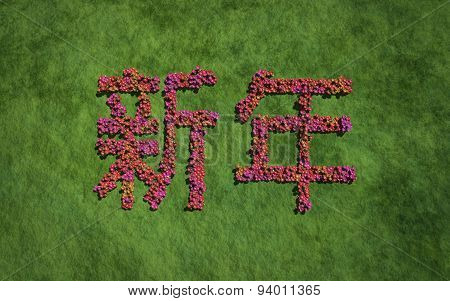 New Year Chinese Text Flower With Grass Background