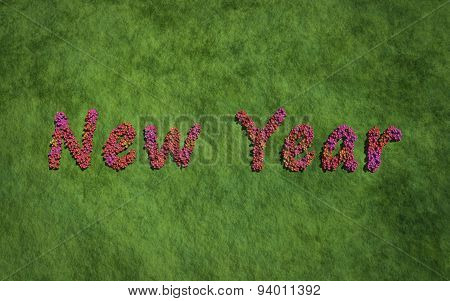 New Year Text Flower With Grass Background