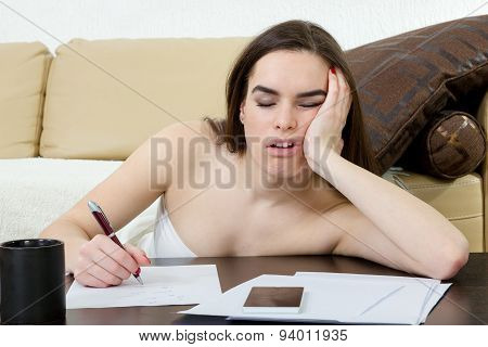 Ducation And Business Concept, Girl With Pile Of Notes Indoors