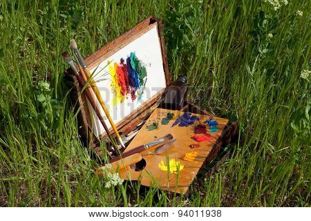 Painter's Case With Abstract Painting