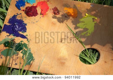 Wood Palette With Oil Paint