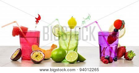 Selection Of Fruits Non Alcoholic Cocktails Over White