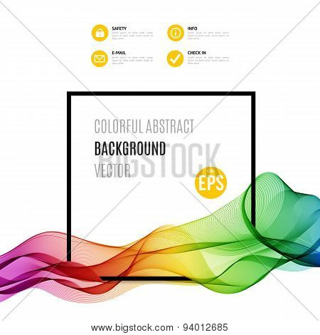 Abstract colourful wave with frame isolated on white background