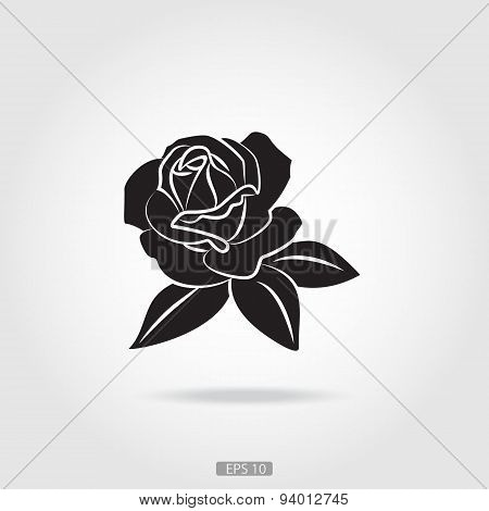 Black silhouette of rose.