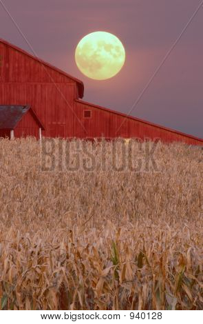Harvest Moon Over Barn