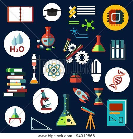 Science flat physics and chemistry icons
