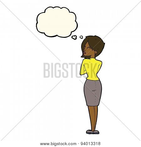 cartoon businesswoman ignoring with thought bubble