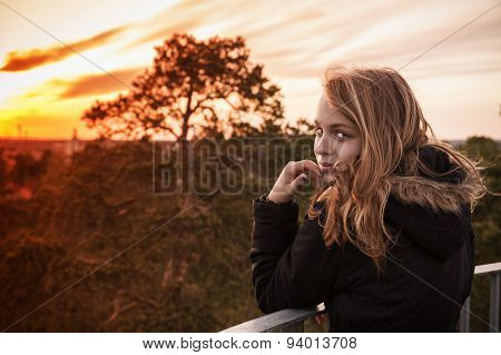Caucasian Blond Girl With Evening Sunlight