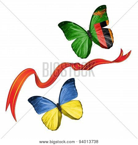 Two butterflies with symbols of Ukraine and Zambia