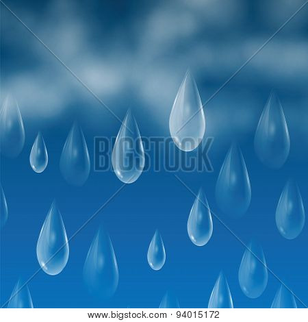 Background With Rain Drops And Clouds